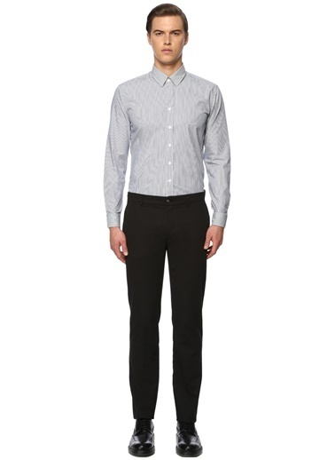 George Hogg George Hogg Uzun Kollu Slim Fit Çizgili Erkek Gömlek Lacivert